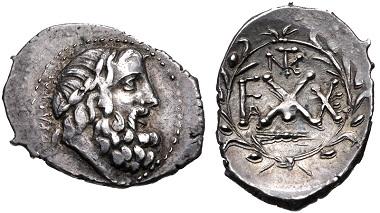 Lot 216: Achaia, Achaian League. Elis. Triobol-Hemidrachm, circa 50-25 BC. VF. Estimate: 200 USD.