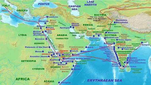 The commercial route to India in Roman times, as described by the Periplus of the Erythraean Sea in 1st century AD. Map: PHGCOM. GNU / CC4.0