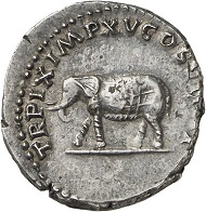 Titus, denarius 79-81, 80. Rv. Elephant. From Künker sale 288 (13 March 2017), No. 492. Estimate: Euro 150.