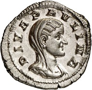 Diva Paulina. Denarius under her spouse Maximinus Thrax, 235-238. Rv. Peacock carrying the deceased empress to the gods. From Künker sale 288 (13 March 2017), No. 760. Estimate: Euro 600.