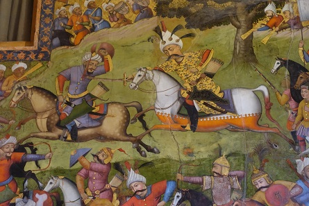 The battle between Shah Ismail and Khan Shaybani. Fresco in the Forty Columns Palace. Photo: KW.
