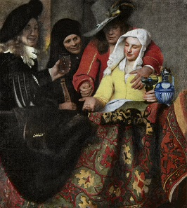 The Procuress, oil on canvas, 1656 by Johannes Vermeer, depicting a precious rug.