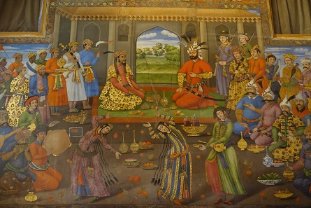 The Shah of Persia receives the Indian Mughal ruler Humayun. Forty Columns Palace. Photo: KW.