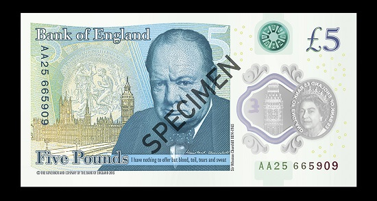 The Bank of England's newest note, the polymer £5, which launched on 13 Sept 2016. Photo: © Bank of England Museum.