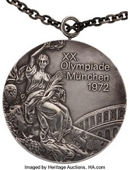 Lot 80119: 1972 Munich Olympics Individual Uneven Bars Silver Medal. Estimate: 60,000 USD.