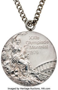 Lot 80122: 1976 Montreal Olympics Individual Balance Beam Silver Medal. Estimate: 60,000 USD.