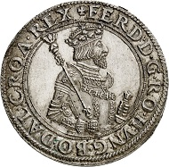 Ferdinand I. Reichstaler, posthumous striking from 1573/1576 Hall. From Künker sale 292 (March 16, 2017), No 5949.