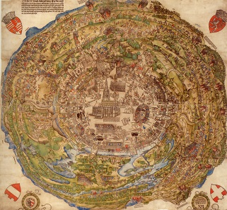 Panoramic view of the city of Vienna at the time of the first Siege of Vienna. Wien Museum.