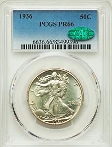 1936 50C PR66 PCGS. CAC. PCGS Population: (301/41). NGC Census: (305/82). Mintage 3,901. Reserve: 3,200 USD.