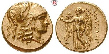 Griechen. Makedonien. Alexander III. der Große, 336-323 v. Chr. Stater, 315-314 v. Chr. Fast stempelfrisch. 5.250 EUR.