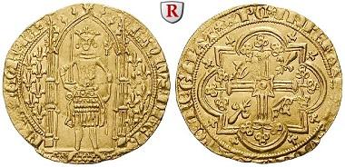 Frankreich. Charles V., 1364-1380. Franc à pied o. J. (1365). Fast vorzüglich. 1.650 EUR.