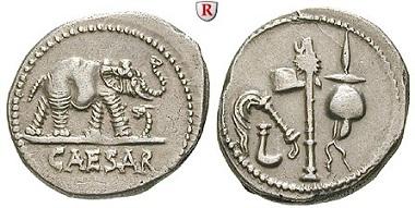 Römische Republik, Gaius Iulius Caesar, 100-44 v. Chr. Denar, 49-48 v. Chr. Vorzüglich. 1.450 EUR.