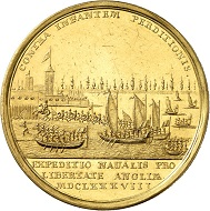 Gold medal from 1688 on the landing of William III in Torbay by R. Arondeaux. From Künker sale 292 (16 March 2017), No. 5074.