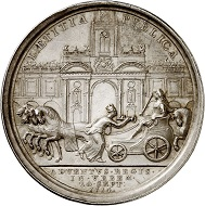 Silver medal 1714 by I. Croker on the arrival of George I in London. From Künker sale 292 (16 March 2017), No. 5697.