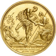 Gold medal 1746 by R. Yeo on the victory at the Battle of Culloden. From Künker sale 292 (16 March 2017), No. 5076.