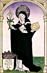 Saint Margaret of Hungary in a medieval book illustration.