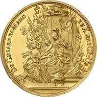 Lot 3: Belgium. Flanders. Charles III (VI). Gold medal of 23 ducats 1716 by P. Roettiers on the birth of Archduke Leopold. Extremely rare. Extremely fine. Estimate: 15,000,- euros. Hammer price: 60,000,- euros.