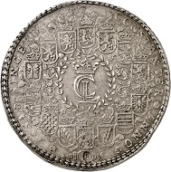 Lot 360: Brunswick-Lüneburg. Christian Ludwig, 1648-1665. Löser of 8 reichstalers 1654, Clausthal. Welter 1481. Probably unique. Very fine to extremely fine. Estimate: 100,000,- euros. Hammer price: 120,000 euros.