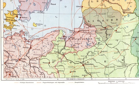 Map of East Prussia at the time of the Weimar Republic. The Treaty of Versailles had basically annulled the Partitions of Poland and left Germany with a corridor to East Prussia. The territory's island position is clear to see even on this map.