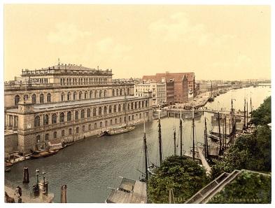 Börse und Hafen von Königsberg, zwischen 1890 und 1900. Library of Congress. Detroit Publishing Co., catalogue J-foreign section. Detroit, Mich. Detroit Photographic Company, 1905.; Print no.