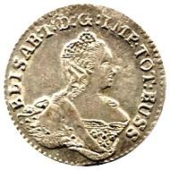 6 Gröscher 1761, Königsberg oder Moskau. Aus Auktion Tempelhofer Münzenhaus, Berlin am 6. April 2017.
