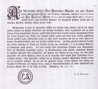 Decree for the public announcement of the Treaty of St. Petersburg in East Prussia.