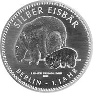 SILBER EISBÄR 2017 / Silber .999 / 1 Unze / Gestaltung: Laura Nicklaus, Münze Berlin / Auflage: 10.000.