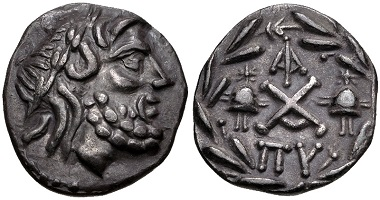 Lot 207: Achaia, Achaian League. Lakedaimon (Sparta). Triobol-Hemidrachm, circa 85 BC. Good VF. Estimate: 200 USD.