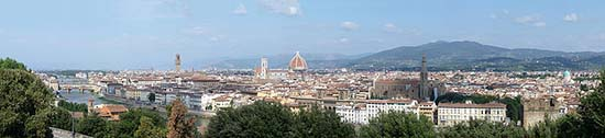 The 'skyline' of Florence, the centre of rich Tuscany. Image: Lucarelli / Wikipedia.