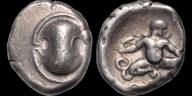 Lot 13: Boeotia. Thebes. AR Stater. Aeginetic standard. Late issue. Rare. Very Fine. Estimate: 1.200 USD.