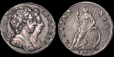 Lot 82: William and Mary. AR farthing proof. Good Very Fine. Estimate: 750 USD.