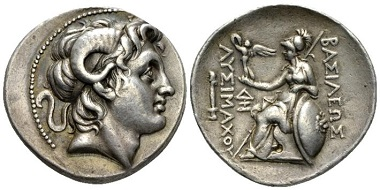 Lot 56: Kingdom of Thrace. Lysimachus, 323-281. Lampsacus. Tetradrachm, circa 297-281. About extremely fine. Starting Bid: 250 GBP.