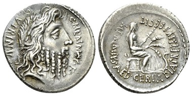 Lot 451: C. Memmius C.f. Denarius, circa 56. Rev. slightly off centre, otherwise About Extremely Fine. Starting Bid: 180 GBP.