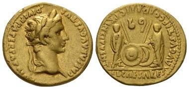 Lot 498: Octavian as Augustus, 27 BC-14 AD. Aureus, circa 2 BC-4 AD, Lugdunum. Good very fine. Starting Bid: 1,200 GBP.