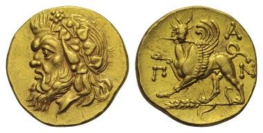 Los 33: Taurischer Chersones. Pantikapaion. Goldstater, 340-325 v. Chr.