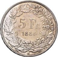 Die seltenste Münze der Schweizerischen Eidgenossenschaft: Ein 5 Franken-Stück von 1886. Seine Jahreszahl macht es unbezahlbar! Es handelt sich wohl um die derzeit wertvollste Münze, die seit der Gründung der Schweizerischen Eidgenossenschaft geprägt wurde. Foto: © Rapp.