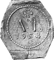 Siege money from Pavia. Ducat 1524, minted under Antonio De Leyva. A L, above cross, below year. Maillet 360, 1; pl. XCIII Pavie 1. From a German private collection.