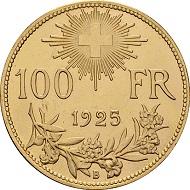Schweizerische Eidgenossenschaft. 100 Franken 1925. Foto: © Chaponnière et Firmenich SA.
