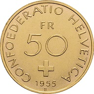 Die enigmatischen Goldprägungen von 1955, die teils eingeschmolzen wurden und in einem kleinen Restbestand noch in den Tresoren der Schweizerischen Nationalbank ruhen. Das wohl einzige Pärchen in privatem Besitz ist ebenfalls in der Ausstellung zu sehen. Foto: © Chaponnière et Firmenich SA.
