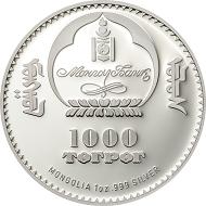 Mongolia / 1000 Togrog / Silver .999 / 1 oz / 38.61 mm / Mintage: 1000.