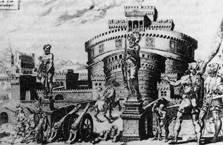Die Belagerung der Engelsburg, gemalt von Maarten van Heemskerck 1556.