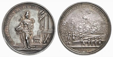 Nijemegen / Netherlands. Medal 1702. The reverse shows gunfire as seen from a bastion. From Baums Collection, Künker sale 116 (2006), No. 4268.
