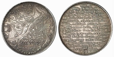 Bergen op Zoom / Netherlands. Medal from 1631 by Jan van Loof. As you can see on the obverse of this medal, water played a crucial role in the defence works of the Dutch cities. From Baums Collection, Künker sale 116 (2006), No. 4205.