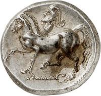 Lot 5: Celts. Imitation of Philip II. Kroisbach mit Reiterstumpf type. Tetradrachm, ca. 100-50 BC. Extremely fine to FDC. Estimate: 3,000,- euros. Hammer price: 5,000,- euros.