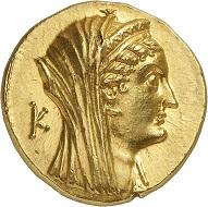 Lot 388: Arsinoe II, Queen (Egypt). AV-octodrachm, Alexandria, 144-116. Acquired from SKA, Bern, on October 3, 1981. Extremely fine to FDC. Estimate: 20,000,- euros. Hammer price: 24,000,- euros.