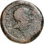 Lot 417: Achulla (Africa Proconsularis). Augustus, 27 BC-AD 14. Under Proconsul P. Quinctilius Varus. AE, 8-7 BC. Brown patina. Fine. Estimate: 800,- euros. Hammer price: 4,400.- euros.