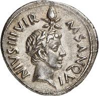 Lot 456: Augustus, 27 BC-AD 14. Denarius, 17 BC, mint master M. Sanquinius. From Künker sale 89 (2004), No. 2025. Extremely fine. Estimate: 800,- euros. Hammer price: 4,200,- euros.