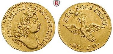 Altdeutschland. Brandenburg-Preussen. Friedrich Wilhelm I., 1713-1740. 1/2 Dukat 1713. Magdeburg HFH. Vorzüglich. 4.500 EUR.