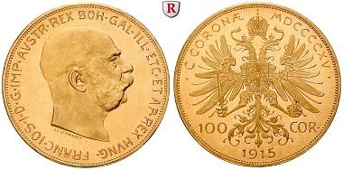 Österreich. Franz Joseph I., 1848-1916. 100 Kronen 1915. Neuprägung. Stempelfrisch. 1.153 EUR.