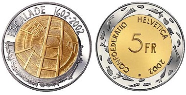 During the famous Escalade in Geneva in 1602, the Savoyards tried to sneak into the city with two ladders. Switzerland, 5 francs, commemorative coin of 2002. Photo: Swissmint.